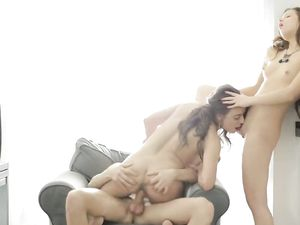 Couple Invites The Sexy Girl In For A Threeway
