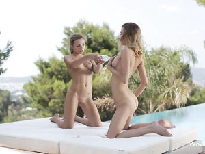 Teen Girlfriends Oil Each Other Up Erotically