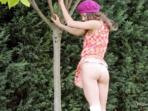 Teen Teases Her Tight Ass In Panties Outdoors