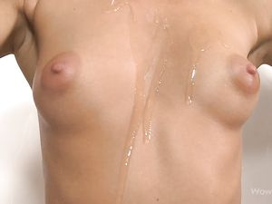 Teenage Titties Shine With A Coating Of Slippery Oil