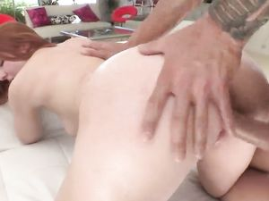 Horny Redheaded Teenager Rides A Big Cock