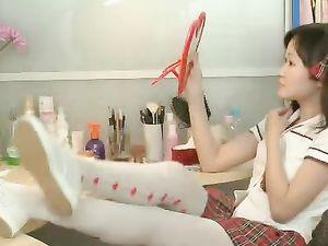 Cute Asian Schoolgirl Joyfully Vibrates Her Pussy
