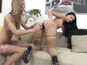 Amazing Threesome With Two Hot Brunette Babes